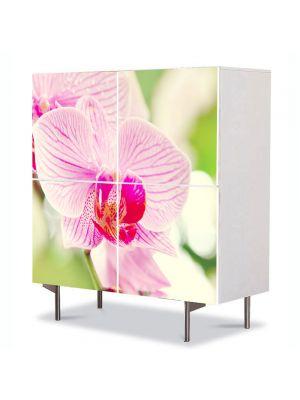 Comoda cu 4 Usi Art Work Flori Orhidee luminoasa, 84 x 84 cm