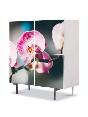 Comoda cu 4 Usi Art Work Flori Orhidee inflorite, 84 x 84 cm