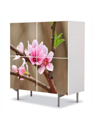 Comoda cu 4 Usi Art Work Flori Flori de piersic, 84 x 84 cm