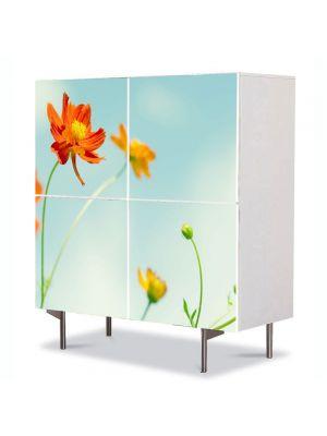 Comoda cu 4 Usi Art Work Flori Flori perfecte, 84 x 84 cm
