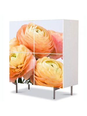 Comoda cu 4 Usi Art Work Flori Flori persane galbene, 84 x 84 cm