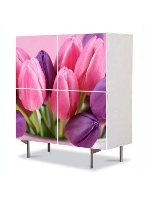 Comoda cu 4 Usi Art Work Flori Lalele violet si roz, 84 x 84 cm
