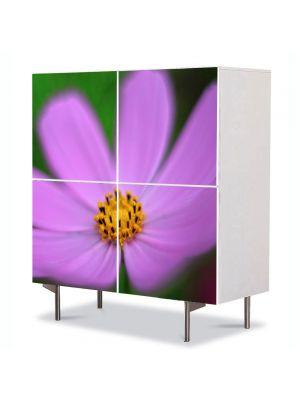 Comoda cu 4 Usi Art Work Flori Floare violet si galbena, 84 x 84 cm