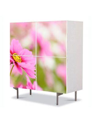Comoda cu 4 Usi Art Work Flori Camp de flori violet, 84 x 84 cm