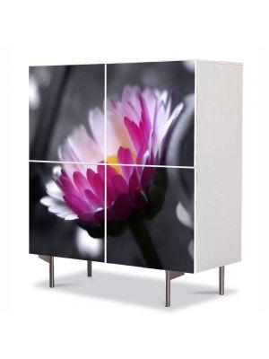 Comoda cu 4 Usi Art Work Flori Floare roz pe fundal negru, 84 x 84 cm