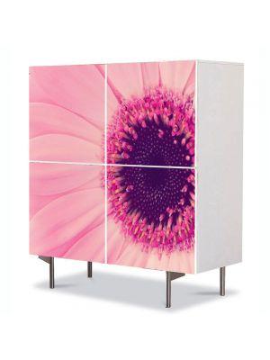 Comoda cu 4 Usi Art Work Flori Gerbera roz, 84 x 84 cm