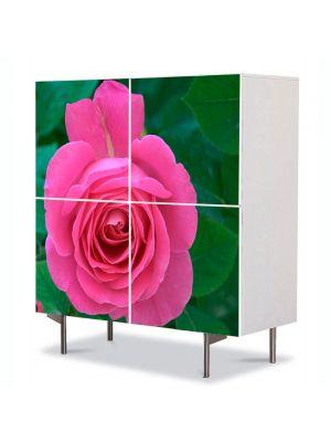 Comoda cu 4 Usi Art Work Flori Trandafir rozaliu, 84 x 84 cm