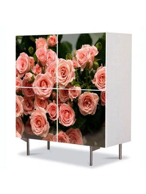 Comoda cu 4 Usi Art Work Flori Muguri de trandafiri roz, 84 x 84 cm