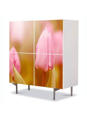 Comoda cu 4 Usi Art Work Flori Mugure de lalea roz, 84 x 84 cm