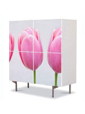 Comoda cu 4 Usi Art Work Flori Trei lalele roz, 84 x 84 cm