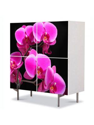 Comoda cu 4 Usi Art Work Flori Orhidee Roz, 84 x 84 cm