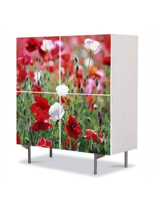 Comoda cu 4 Usi Art Work Flori Camp de maci, 84 x 84 cm