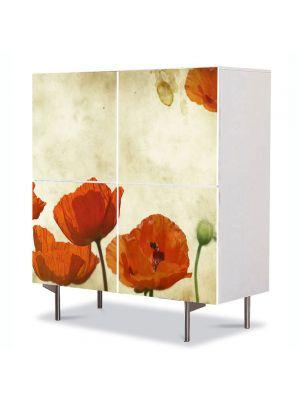 Comoda cu 4 Usi Art Work Flori Maci stilizati, 84 x 84 cm