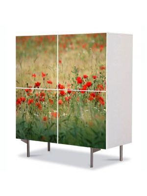 Comoda cu 4 Usi Art Work Flori Camp cu maci, 84 x 84 cm