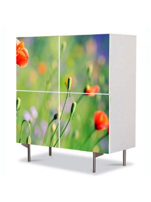 Comoda cu 4 Usi Art Work Flori Maci de camp, 84 x 84 cm