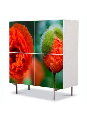 Comoda cu 4 Usi Art Work Flori Mac, 84 x 84 cm