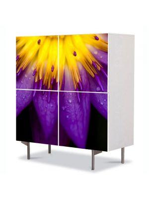 Comoda cu 4 Usi Art Work Flori Petale violet si galbene, 84 x 84 cm