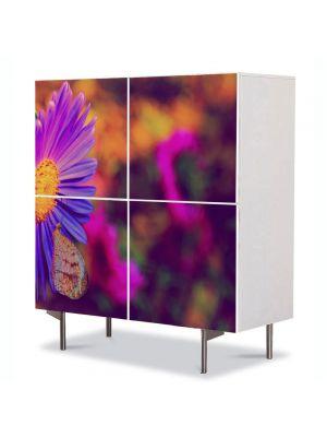 Comoda cu 4 Usi Art Work Flori Floare cu tente violet, 84 x 84 cm
