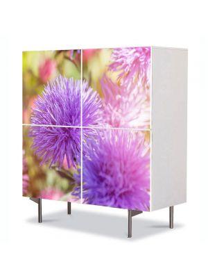 Comoda cu 4 Usi Art Work Flori Flori pufoase violet, 84 x 84 cm