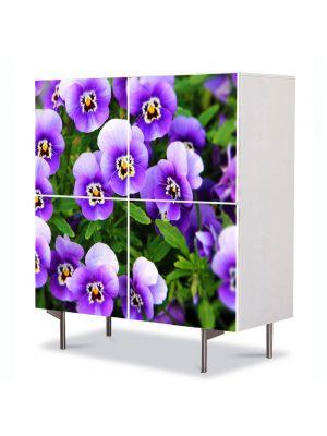 Comoda cu 4 Usi Art Work Flori Panselute Violet, 84 x 84 cm
