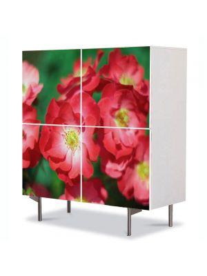 Comoda cu 4 Usi Art Work Flori Trandafiri de gradina, 84 x 84 cm