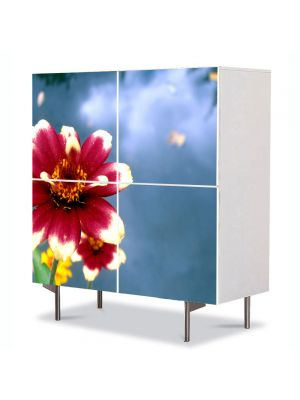 Comoda cu 4 Usi Art Work Flori Floare cu petale rosii si albe, 84 x 84 cm