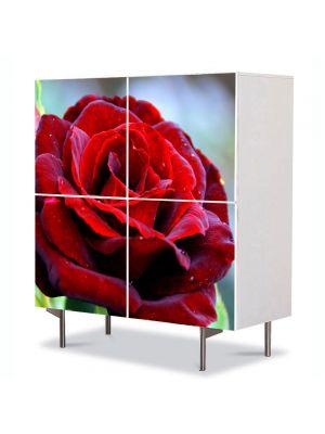 Comoda cu 4 Usi Art Work Flori Trandafir rosu clasic, 84 x 84 cm