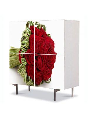 Comoda cu 4 Usi Art Work Flori Buchet de trandafiri, 84 x 84 cm