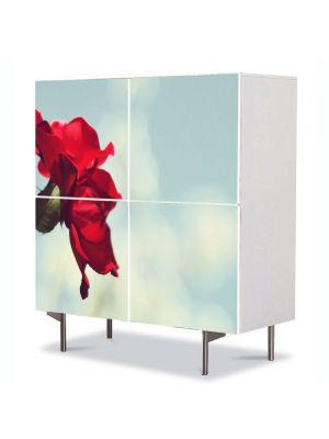 Comoda cu 4 Usi Art Work Flori Trandafir rosu si cer senin, 84 x 84 cm
