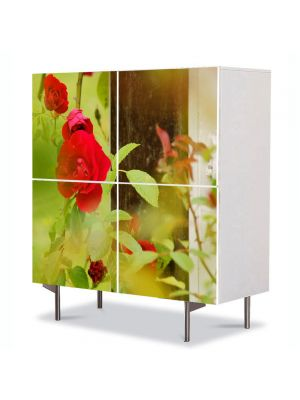 Comoda cu 4 Usi Art Work Flori Trandafiri la fereastra, 84 x 84 cm