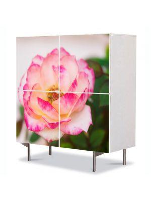 Comoda cu 4 Usi Art Work Flori Trandafir alb, 84 x 84 cm