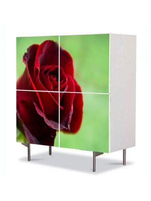 Comoda cu 4 Usi Art Work Flori Fir rosu de trandafir, 84 x 84 cm