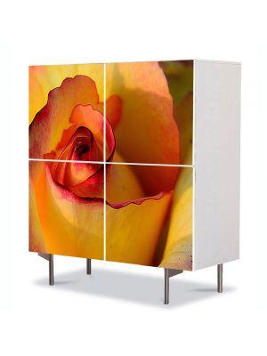Comoda cu 4 Usi Art Work Flori Trandafir galben, 84 x 84 cm