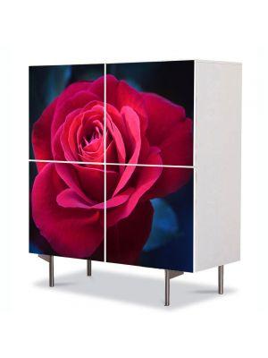 Comoda cu 4 Usi Art Work Flori Trandafir de 8 Martie, 84 x 84 cm
