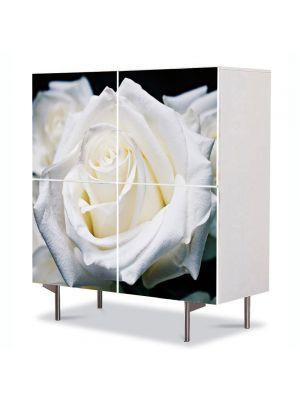 Comoda cu 4 Usi Art Work Flori Trandafiri albi, 84 x 84 cm