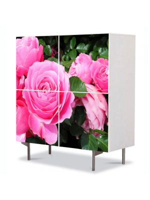 Comoda cu 4 Usi Art Work Flori Trandafirii sunt roz, 84 x 84 cm