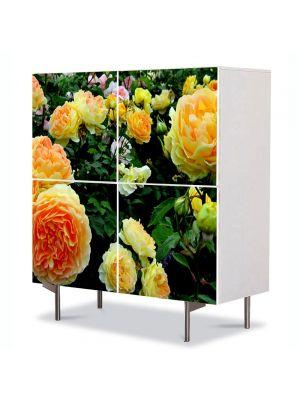 Comoda cu 4 Usi Art Work Flori Gradina cu trandafiri, 84 x 84 cm