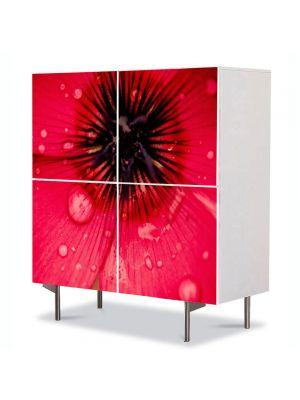Comoda cu 4 Usi Art Work Flori Floare caramizie, 84 x 84 cm