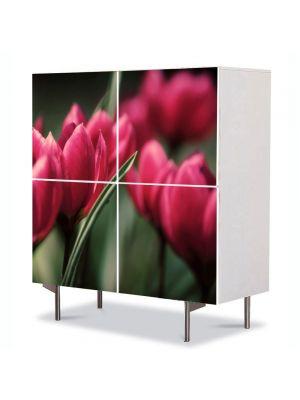 Comoda cu 4 Usi Art Work Flori Lalele inflorite, 84 x 84 cm