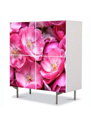 Comoda cu 4 Usi Art Work Flori Trandafiri violet salbatici, 84 x 84 cm