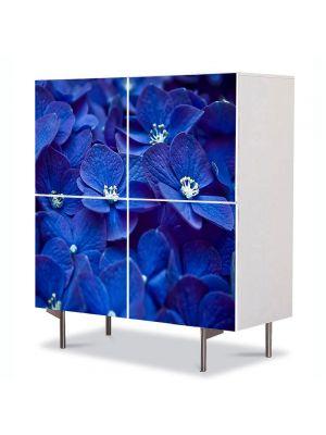 Comoda cu 4 Usi Art Work Flori Flori albastre, 84 x 84 cm