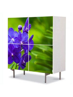 Comoda cu 4 Usi Art Work Flori Orhidee albastre, 84 x 84 cm