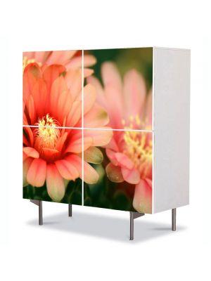 Comoda cu 4 Usi Art Work Flori Flori de cactus, 84 x 84 cm