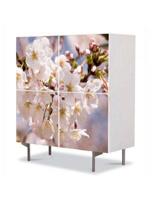 Comoda cu 4 Usi Art Work Flori Flori albe japoneze, 84 x 84 cm