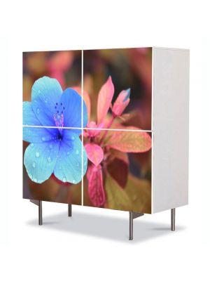Comoda cu 4 Usi Art Work Flori Trandafir chinezesc, 84 x 84 cm