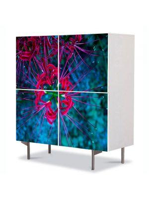 Comoda cu 4 Usi Art Work Flori Flori subacvatice, 84 x 84 cm