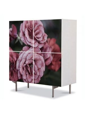 Comoda cu 4 Usi Art Work Flori Trandafiri infrigurati, 84 x 84 cm