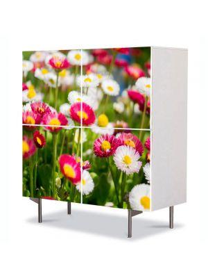 Comoda cu 4 Usi Art Work Flori Margarete colorate, 84 x 84 cm