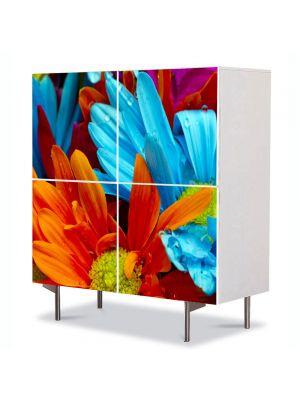 Comoda cu 4 Usi Art Work Flori Flori cu colorit superb, 84 x 84 cm