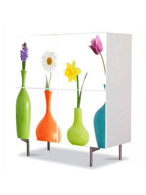 Comoda cu 4 Usi Art Work Flori Flori in vaza, 84 x 84 cm